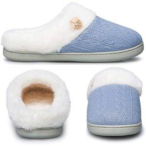 Baby Blue 5色选针织毛毛拖鞋