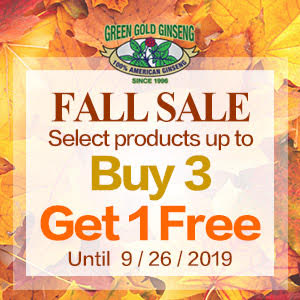 Select products up to buy 3 get 1 free100% Authentic American Wisconsin Ginseng Fall Sale