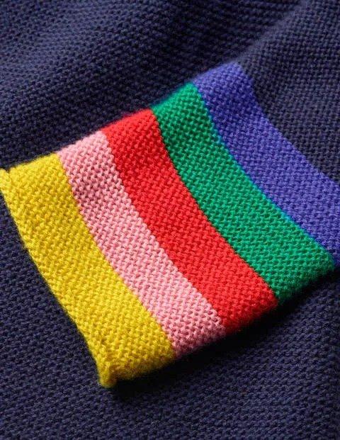 女童彩虹袖口开衫毛衣