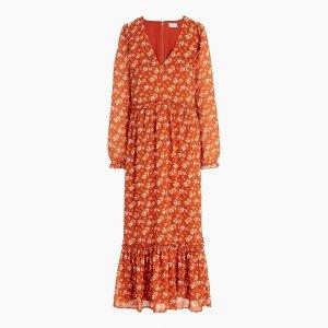 J.CrewCrinkle midi flounce dress