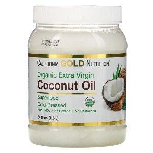 California Gold Nutrition, Cold-Pressed Organic Virgin Coconut Oil, 54 fl oz (1.6 L)