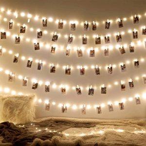 azproduct 6.6英尺20颗LED仙女灯串 带10个夹子