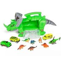 恐龙运输玩具套装,含4辆车+6个恐龙
