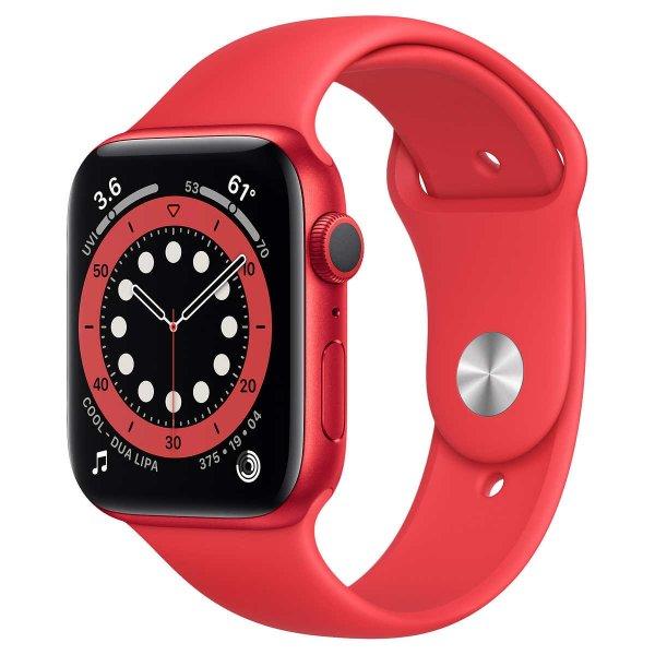 Apple Watch Series 6 44mm GPS, 红色表壳配红色运动表带