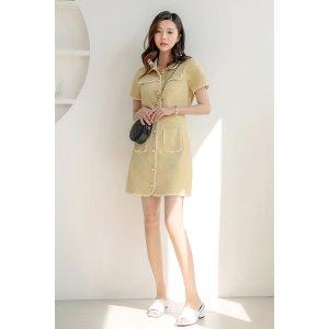Button-Front Contrast Edge Shirt & Skirt Set