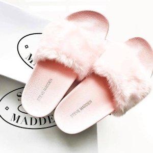 $24 (原价$40)  +包邮Steve Madden 粉色毛绒拖鞋优惠特卖,大码福利!