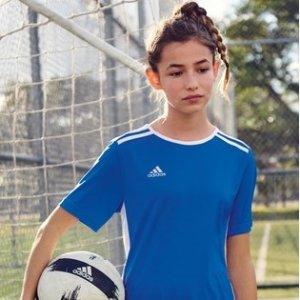 $14.09起(官网女款$35)Adidas Entrada 大童足球衫 多色选 排汗吸湿面料 干燥舒适