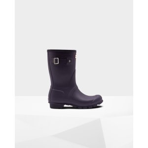 Hunter紫色中筒靴