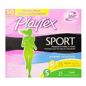 $6.95 包邮再降:Playtex 运动系列无香型卫生棉条 50支组合装