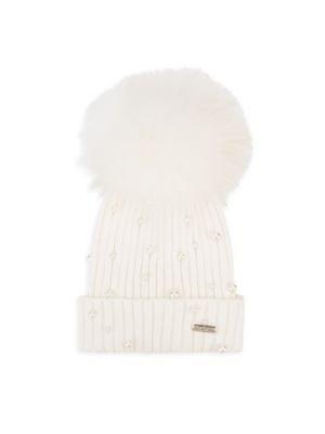 仿珍珠装饰编织帽