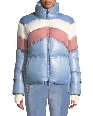 Neiman Marcus Lamar Colorblock Ski CoatGingham Turtleneck SweaterVelvet Pants w/ Zip Pockets