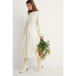Belted Voluminous Coat Offwhite