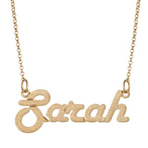 Gold over Sterling Satin Script Name Necklace