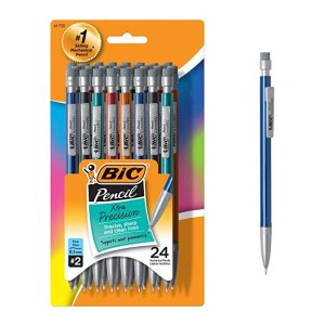 BiCXtra-Precision Mechanical Pencil, Metallic Barrel, Fine Point (0.5mm), 24-Count