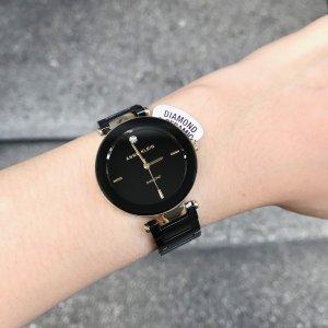 $60.48(原价$75.89)手慢无:Anne Klein 女士黑色圆形陶瓷钻石腕表