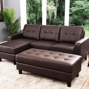 $399Claire Leather Reversible Sectional and Ottoman