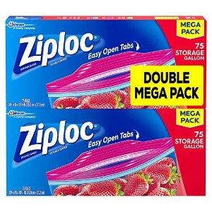 额外7.5折 包邮 150个加仑仅$10Ziploc 多尺寸密实保鲜袋热卖