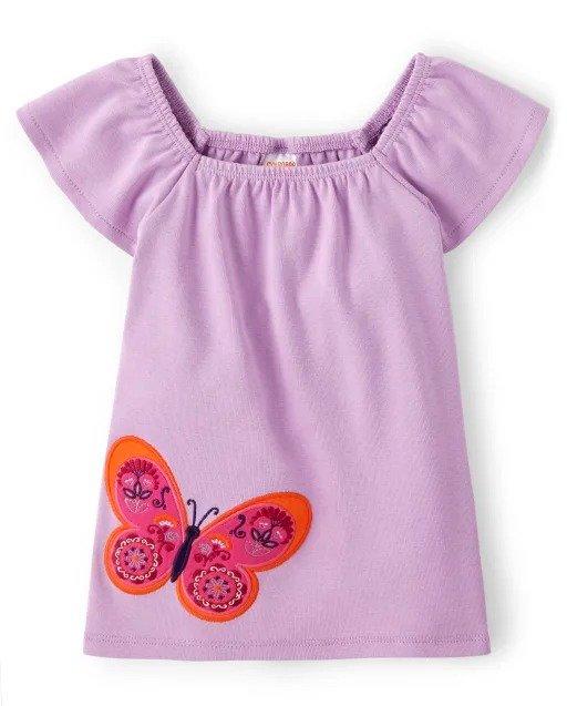 女童蝴蝶刺绣短袖