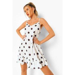 BoohooPolka Dot Drop Hem Mini Dress | boohoo