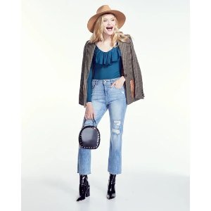 DL1961Jerry High-Rise Vintage Straight-Leg Jeans in Woodstock