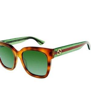 罕见5折 速收 £135入封面logo款GUCCI 墨镜超低折扣热卖 精工嘻哈时尚金色眼镜框也参加