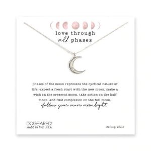 Dogearedlove through all phases crescent necklace, sterling silver