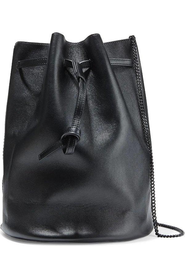 黑色皮质水桶包