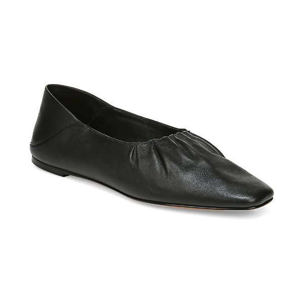 真皮方头芭蕾舞鞋