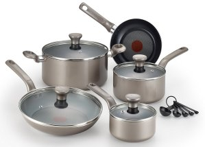$45T-fal C508SE Excite Nonstick Thermo-Spot Dishwasher Safe Oven Safe Cookware Set, 14-Piece, Gold