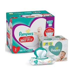$10 Off Pampers Cruisers 360˚ Fit Disposable Baby Diapers+ Baby Wipes 336 Count