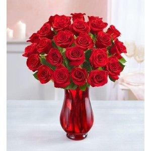 24支红玫瑰带花瓶
