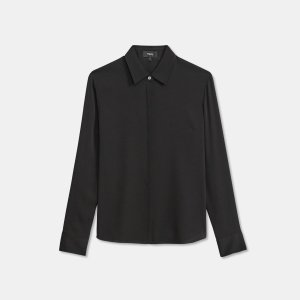 Fitted Shirt in Stretch Silk | Theory