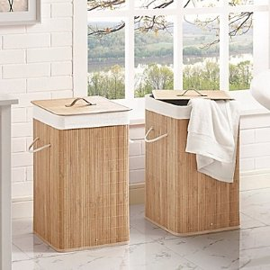 $17Bamboo Hamper in Natural (Set of 2)