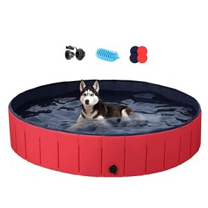 Yaheetechclip 5% off coupon and use codeFoldable Hard Plastic Extra Large Dog Pet Bath Swimming Pool