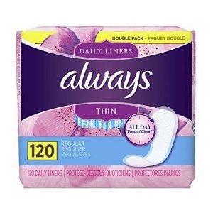 $5.49补货:Always Thin Dailies 超薄持久干爽护垫 120片 新包装