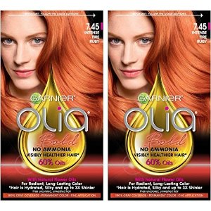 Garnier Olia Bold Ammonia Free Permanent Hair Color (Packaging May Vary), 7.45 Intense Fire Ruby, Red Hair Dye, 2 Count