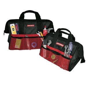 $9.99Craftsman 18 in. W x 13, 18 in. H Ballistic Nylon Tool Bag Set 12 pocket Black 2 pc.