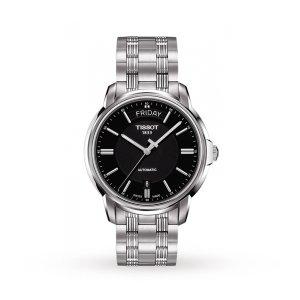 Tissot天梭经典黑色表盘不锈钢腕表