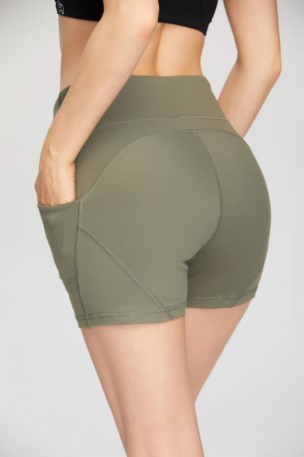 Mid-Thigh Workout Shorts - Asparagus
