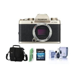 FujifilmX-T100 Mirrorless Digital Camera Body, Gold With Free Accessory Bundle
