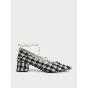 Charles & KeithBlack Woven Gingham Ankle Tie Pumps | CHARLES & KEITH