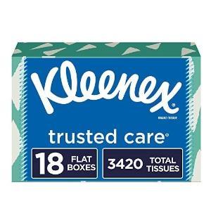 Kleenex Trusted Care Facial Tissues, 18 Rectangular Boxes