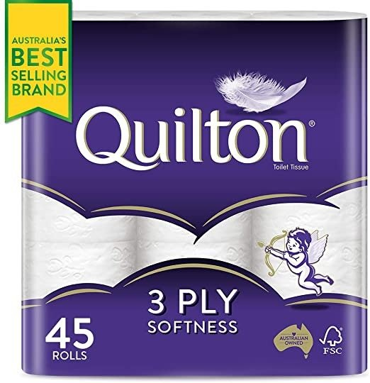 Quilton 3层卫生纸 45卷  (180 Sheets per Roll, 11x10cm), Pack of 45