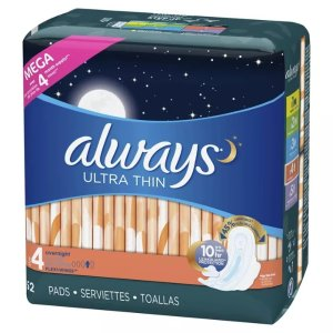 Always Ultra Thin Overnight Pads - Size 4 - 52ct