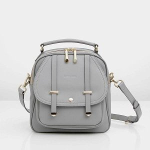 Camila - Grey Leather Backpack