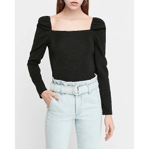 ExpressRibbed Square Neck Puff Sleeve Top