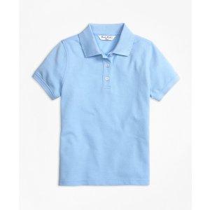 Girls' Light Blue Short-Sleeve Pique Polo Shirt | Brooks Brothers
