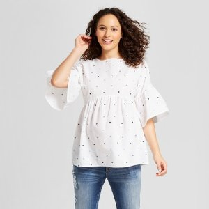 9d8bafeaf Maternity Bell Sleeve Embroidered Polka Dot Top - Isabel Maternity by  Ingrid & Isabel™ White