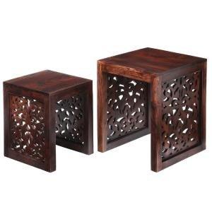 Home Decorators Collection Maharaja 实木雕花装饰桌2件套
