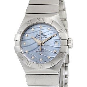 Extra $50 OffDealmoon Exclusive: OMEGA Constellation Co-Axial Blue Mother of Pearl Diamond Dial Stainless Steel Ladies Watch